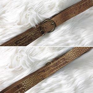 Oltre metallic gold Italian genuine leather belt